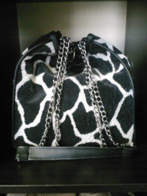 Black and White HopSac Animal Print Shoulder Bag