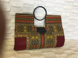 Burgundy Ivory Authentic Dashiki Large Hard Body Hand Bag