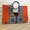Orange Navy Blue Authentic Dashiki Large Hard Body Hand Bag