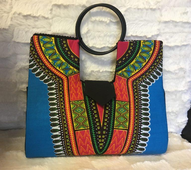 Blue Authentic Dashiki Hard Body Hand Bag