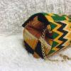 Green yellow Kente Print Hard Body Clutch Purse Plus Chain Handle