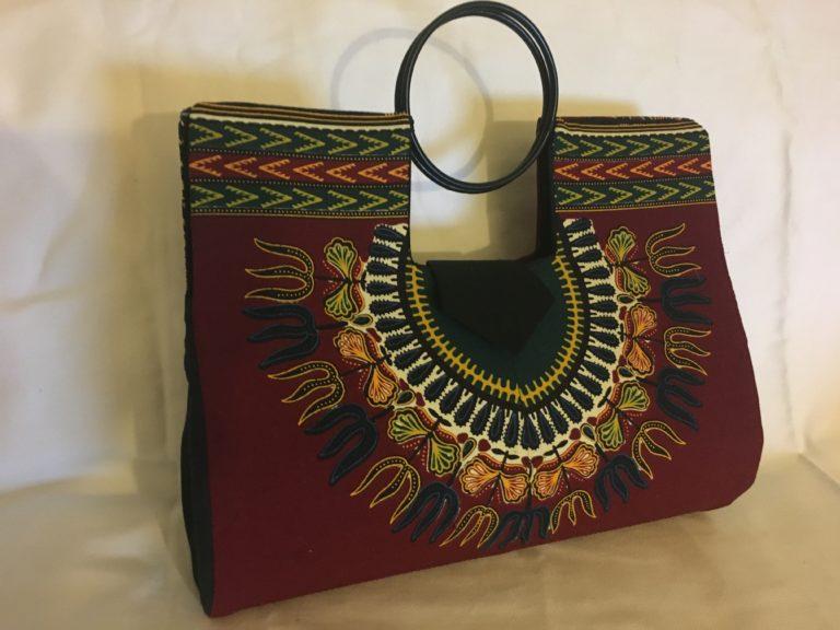 Burgundy/ Wine Authentic Dashiki Hard Body Hand Bag - Another Look
