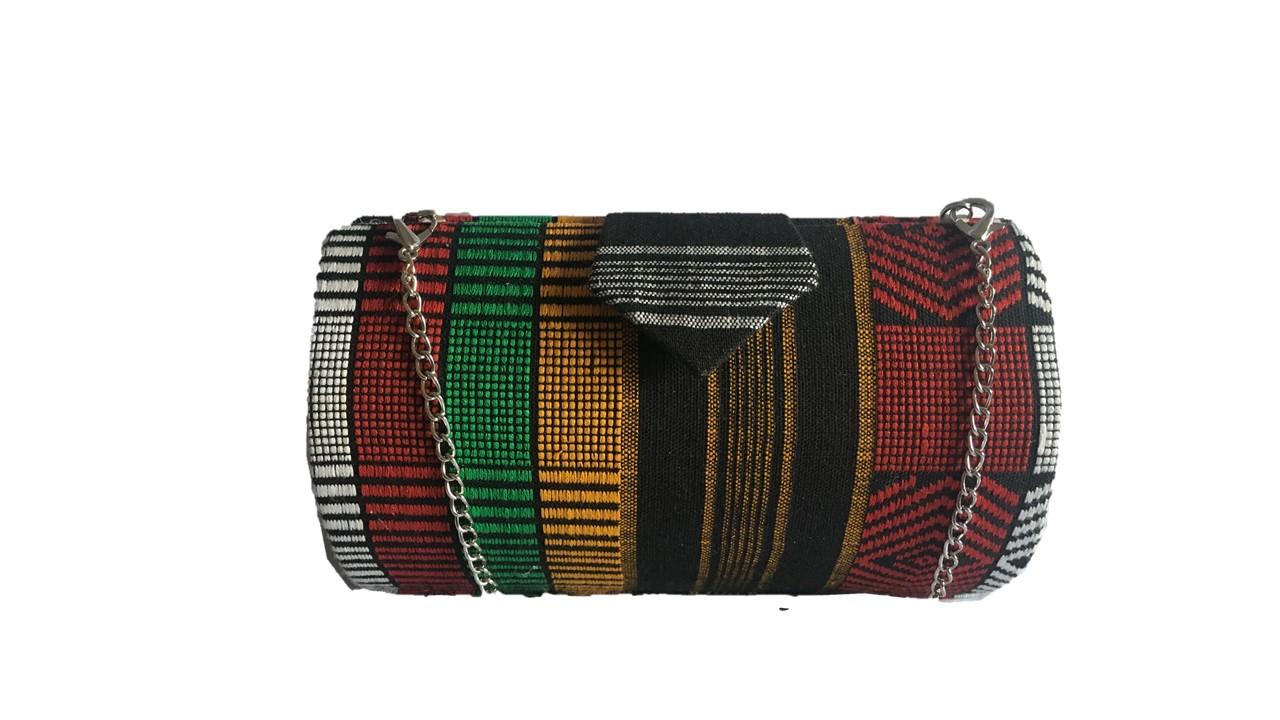 e513f807e9 Multi Color High Quality Genuine Kente Cloth Hard Body Clutch Purse Plus  Chain Handle